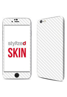 Stylizedd Premium Vinyl Skin Decal Body Wrap for Apple iPhone 6 - Carbon Fibre White