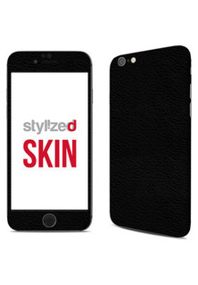 Stylizedd Premium Vinyl Skin Decal Body Wrap for Apple iPhone 6S - Fine Grain Leather Black
