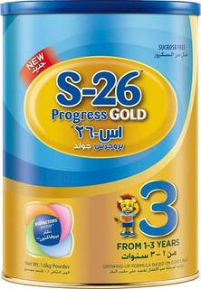 S-26 S26 PROGRESS GOLD Stage 3, Premium Milk Powder for Toddlers Tin 1.6kg with Biofactors System