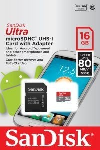 SanDisk Ultra Class 10 80MBs with Adapter - 16GB