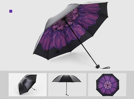 Rain where BIG Flower Umbrella - Purple