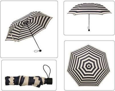 Striped Three Fold Umbrella - Black