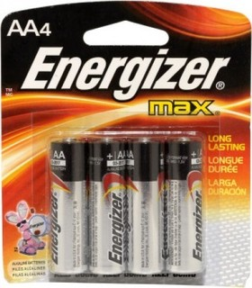 Energizer E91 MAX AA Alkaline Battery, (Pack of 4)
