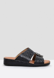 ChicShoes Croco Print Dress Sandals - Black