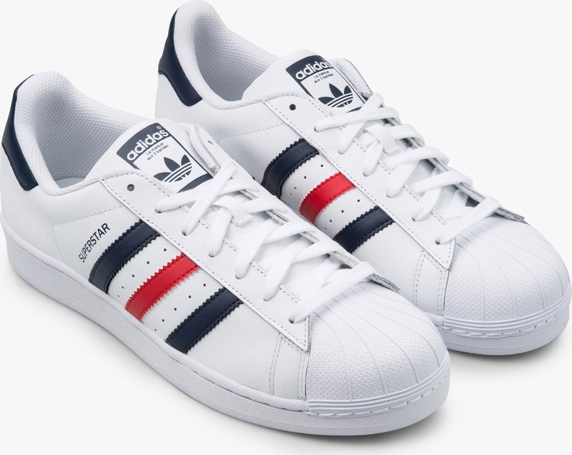 Adidas Originals Superstar Foundation Trainers in White, Navy Blue