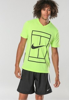 Nike Court Dry Top Baseline T-Shirts - Yellow Green