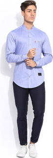 Mr Button Blue Chambray Full Sleeves Shirt