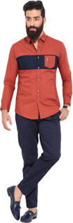 Mr Button Mr Button Rust Cotton Shirt Blue Chest Panel Full Sleeve Semi Spread