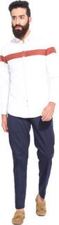 Mr Button White Cotton Shirt Rust Chest Panel Full Sleeve Semi Spread CATSHR07