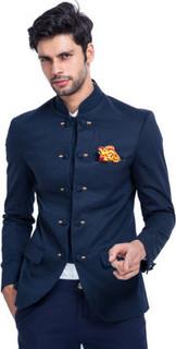 Mr Button Blue Cotton Bandhgala BLA014