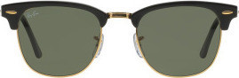 Ray Ban Clubmaster Classic RB3016 W0365-49-21 Sunglasses Black Frame Crystal Green Solid Lenses