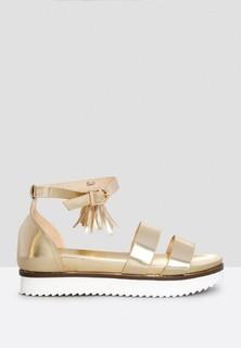TWINZIES Metallic Dual Strap Tassel Sandals - Gold