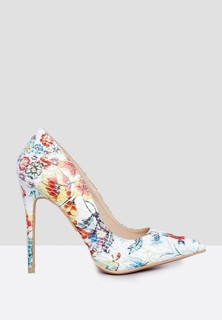 TWINZIES Floral Print Pointed Toe Pumps - Red Floral