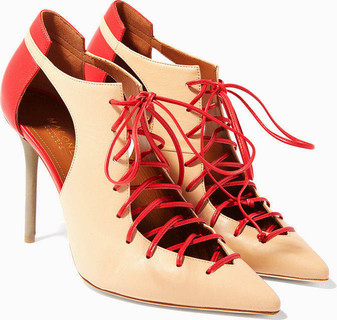 Malone Souliers Nude-Red Montana Lace-Up Pumps