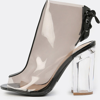 Transparent Ankle Booties CLEAR BLACK