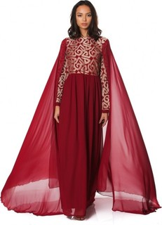 Golden Apple LONG CHIFFON DRESS - Maroon