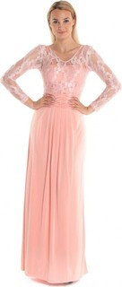 Golden Apple Stretch Long Dress - Peach