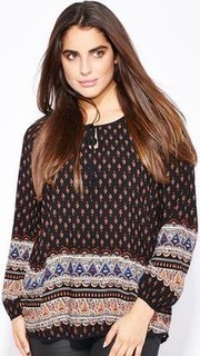 Ella Plus Border Printed Top