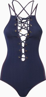 Jonathan Simkhai Navy Lace-Up Swimsuit