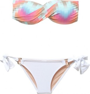 Sol Brazil Strapless two pieces side tie swimsuit - Multicolor
