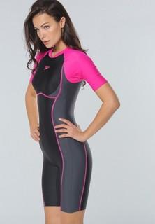speedo Essential Splice Kneesuit - Black Pink