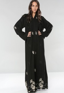 Bousni Fabric embroidered Wide Sleeves Abaya - Black