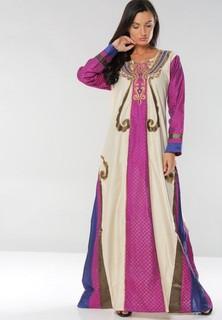 Sara Arabia Casual Wear Jalabiyas - Cream Purple