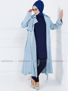 Blue - Fully Lined - Point Collar - Trench Coat - Refka