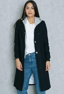 Topshop Hooded Hybrid Coat