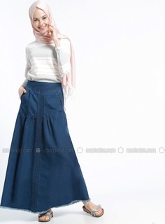 Blue - Unlined - Denim - Skirt - Benin