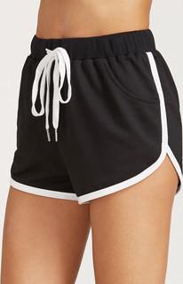 Black Drawstring Waist Contrast Binding Dolphin Shorts
