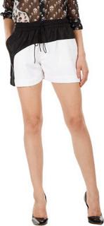 Fuziv Color Block Paneled Shorts, White Black