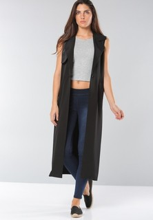 BOWBO Long Sleeveless Cardigan - Black