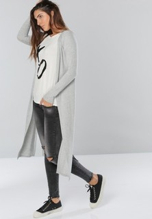 TWINZIES Long Cardigan with Side Slits - Grey