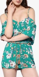 FOREVER 21 Green Off Shoulder Floral Playsuit