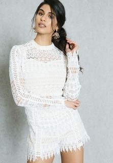 Missguided High Neck Lace Playsuit