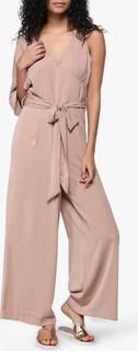 Neon Rose Tie Front Asymmetrical Jumpsuit