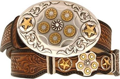 Leegin Men's Texas Star Bullet Buckle Leather Belt Reg And Big Natural 42