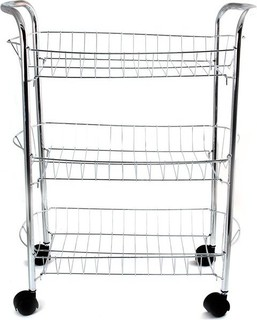 In-house 3 Tier Kitchen Fruit & Vegetable Rack Trolley Silver - RS-4513