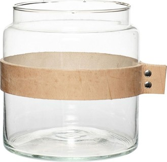 The Bowery Company Vase With Leather Ribbon Glass Small Clear