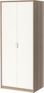 ASKVOLL Wardrobe, white stained oak effect, white