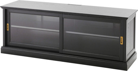 MALSJ TV bench with sliding doors, black stained