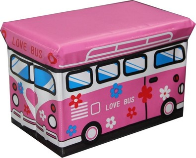 In-House 3648-Pink Storage Box Stool-Wagon Bus