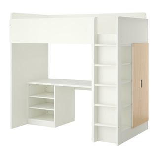 STUVA Loft bed combo w 2 shelves 2 doors, white, birch