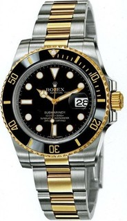 ROLEX Automatic Two -Tone Black Dial Mens Oyster Perpetual Submariner Date Swiss Steel & Yellow Gold 18k Swiss Watch 116613 BK