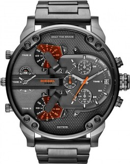 Diesel Men's The Daddy Four time zones Multi-functional Grey Dial Chronograph DZ7315