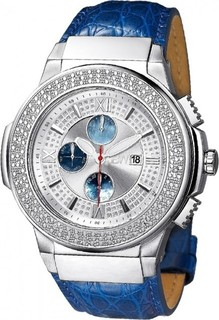 JBW Saxon Men's 16 Diamonds Chronograph Blue Leather Band Watch [JB-6101L-G]