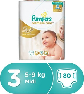 Pampers Premium Care Diapers, Size 3, Midi, 5-9 kg, Jumbo Pack, 80 Count