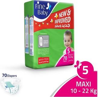 Fine Baby Super Dry - Smart Lock, Maxi 10-22Kgs, Mega Pack, Size 5, 70 Count
