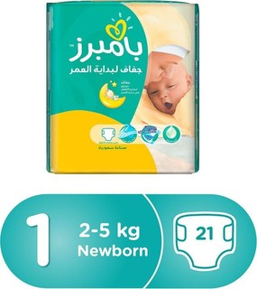 Pampers New Baby Dry Diapers, Size 1, Newborn, 2-5kg, Carry Pack, 21 Count